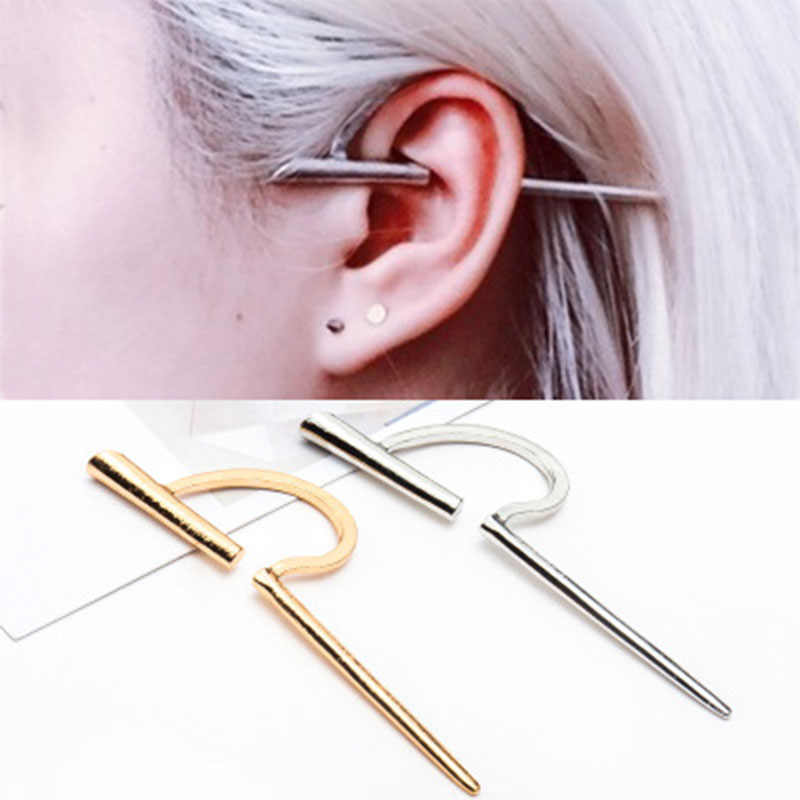 New Simple Climbers Ear Clip On Wrap Women Fashion Vintage Retro C-Shaped Earring Cuff No Piercing Statement Jewelry Gift WD410