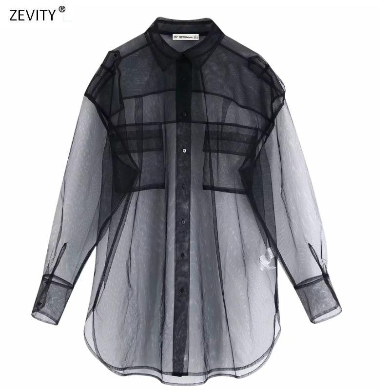 New Women Pocket Decoration Transparent Black Mesh Blouse Long Sleeve Casual Smock Shirt Leisure Sexy Chemise Blusas Tops LS6001