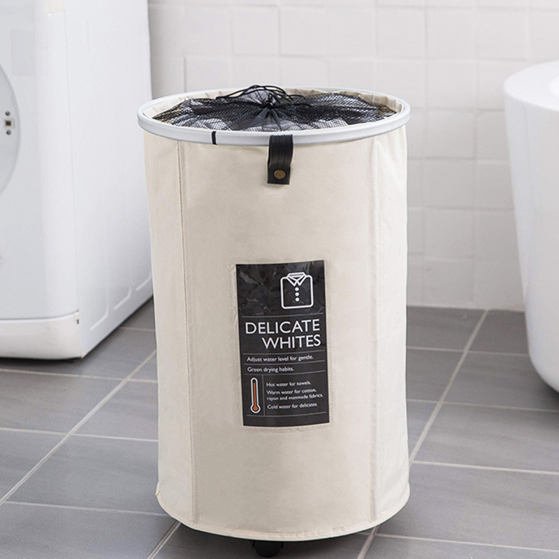 Foldable Storage Basket With Wheels Caster Laundry Basket Collapsible Large Hamper Barrel Dirty Clothes Laundry Bag