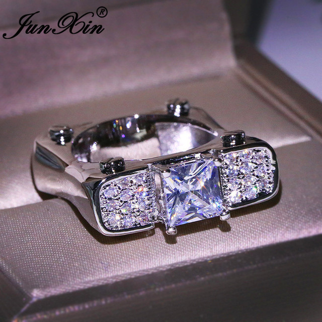 Punk Mens Geometric Square Wedding Ring 925 Silver Color Princess Crystal White Zircon Promise Engagement Rings For Men Women CZ
