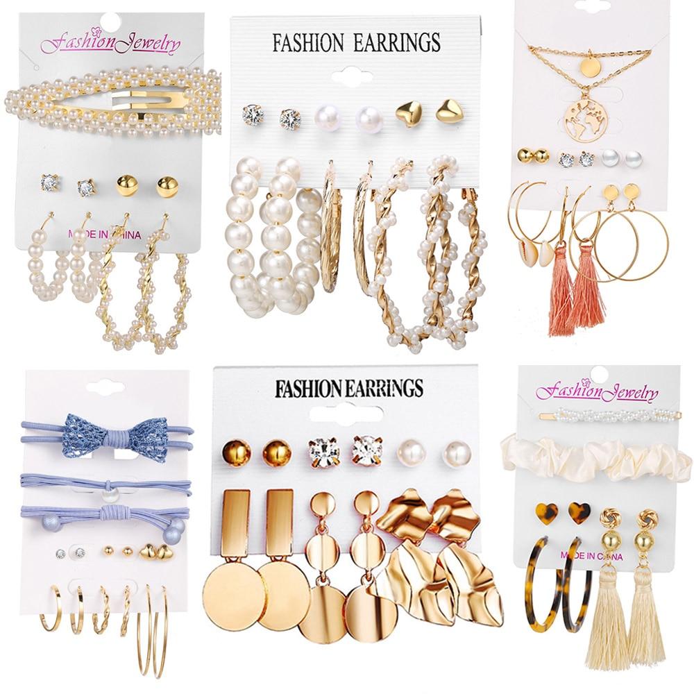 2020 New Fashion Shell Metal Pearl Tassel Earrings For Women Acrylic Crystal Big Round Dangle Drop Earrings Set Brincos Jewelry