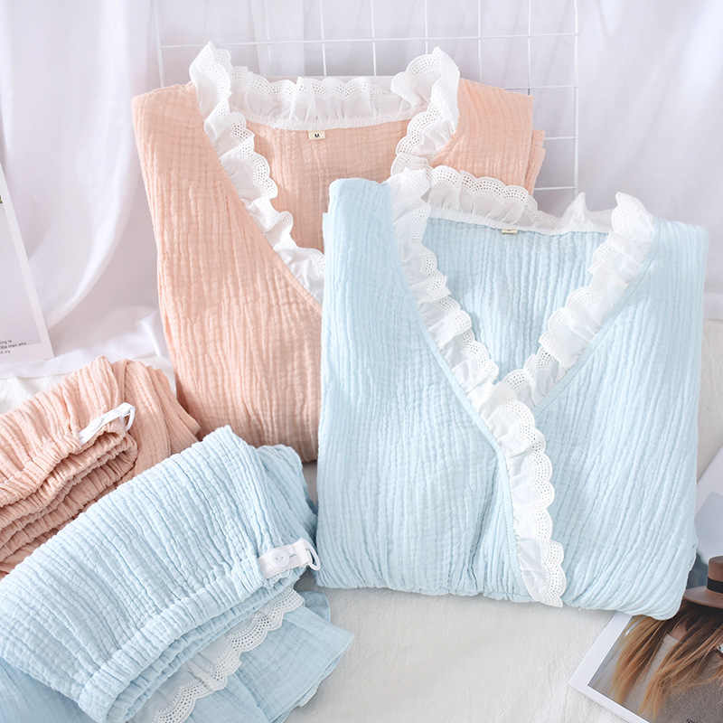 2020 女性のセクシーな V ネック綿洗浄クレープガーゼ長袖ズボンパジャマ家庭用スーツパジャマネグリジェ女性