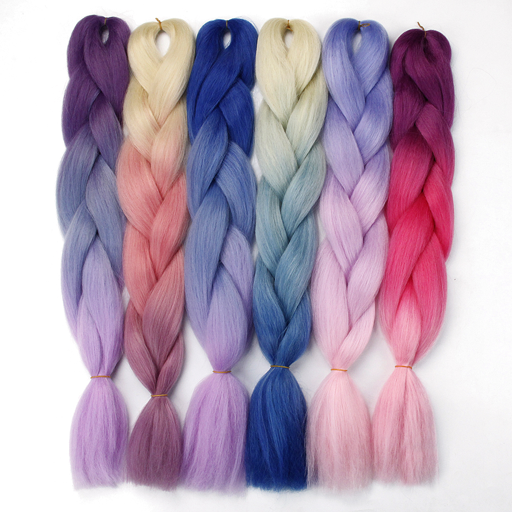 Synthetic Hair Braids Ombre Braiding Hair Extension Box Braid Hair Pink Purple Yellow Golden Colors Crochet Braids Kanekalon