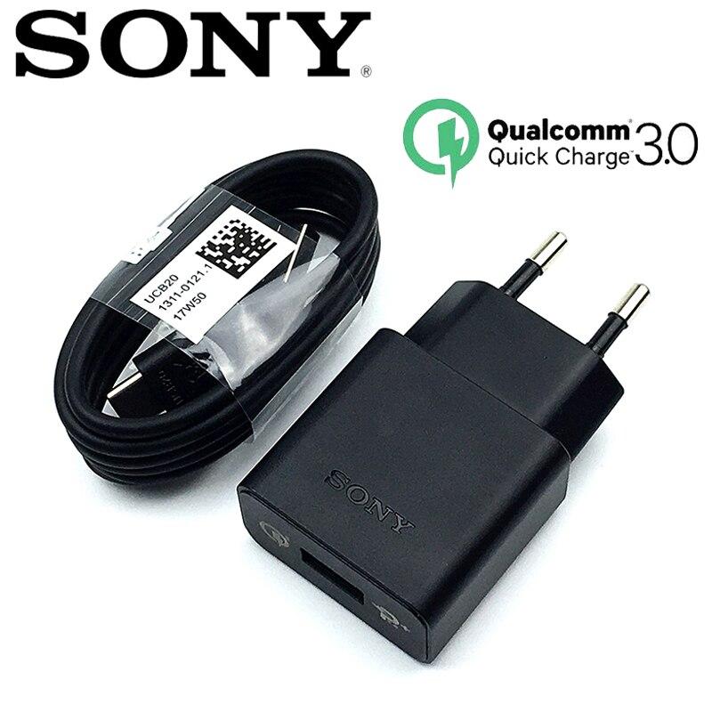 Original Sony Fast Charger QC 3.0 EU Travel Charge Adapter & USB Cable For Xperia Xa1 XZ XZs XC XZp XZ1 XZ1C Xz XZ2 Ultra UCH12