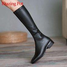Женские Классические ботинки на среднем каблуке с круглым носком