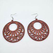 FXM Handmade 1 Pair of Premium Wood Earrings Organic Brown Cutout African Lady Wooden Brincos Pendant