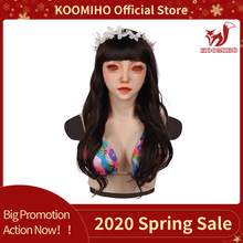 KOOMIHO Emily goddess silicone female head mask with breast E CUP for Crossdresser Silicone Breast Forms Drag Queen 4G(China)