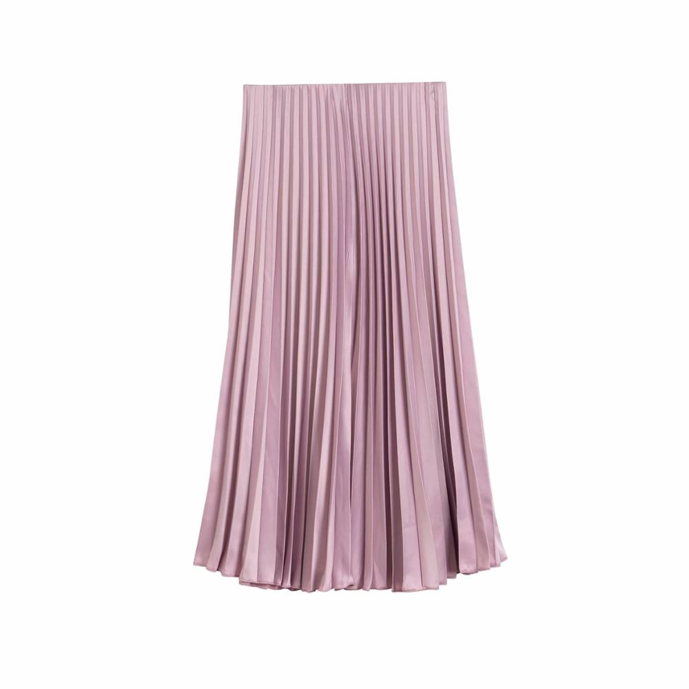 2020 New Women Fashion Solid Color Pleated Midi Skirt Faldas Mujer Ladies Elastic Waist Chic Mid-calf Skirts QUN588