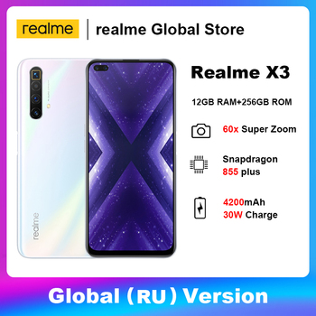 Купить Realme X3 мобильный телефон 64-мегапиксельная четырехъядерная камера 60X суперзум 120 Гц Дисплей Snapdragon 855 + 12 Гб 256 Гб Смартфон глобальная версия 4200 м...