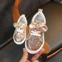 Buy Shoes For Kids Girls Little Children Casual Shoes Baby Sneaker Glitter Leather Toddler Princess Bow-knot Shoes 2#15/15D50 directly from merchant!