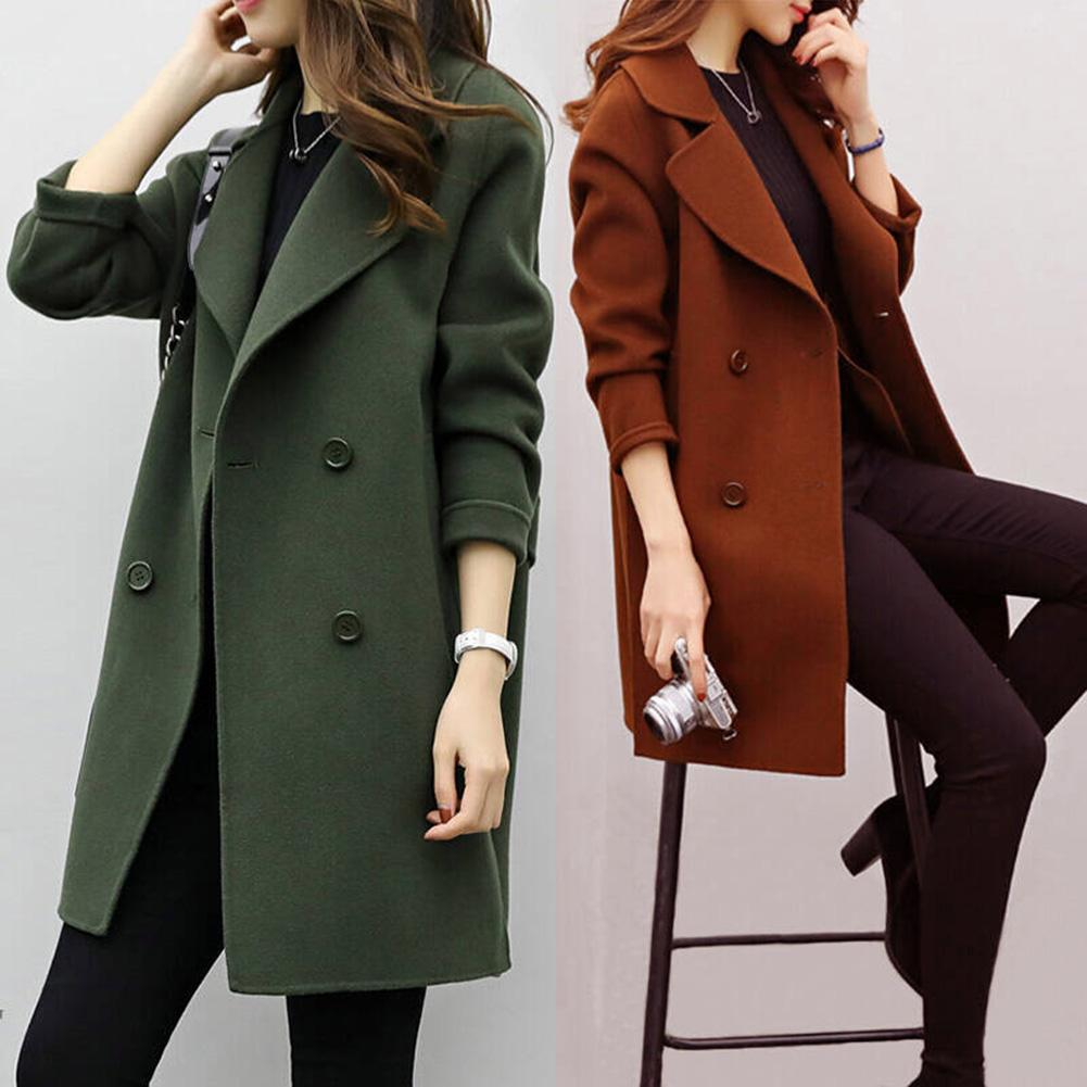Women Autumn Winter Solid Color Lapel Double-breasted Midi Coat Woolen Outwear Office Long Sleeve Button Wool Coat Women Coat