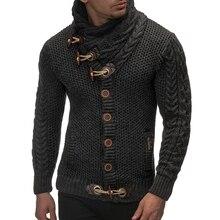 Laamei свитер кардиган мужской бренд Повседневный Slim Fit мужские свитера мужские рога Пряжка толстый хеджирующий водолазка мужской свитер