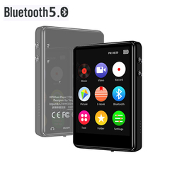 X62 MP3 Player Bluetooth 5.0 Metal Touch Screen 2.4 inch Built-in Speaker 16GB with E-book FM Radio Voice Recording Video Player