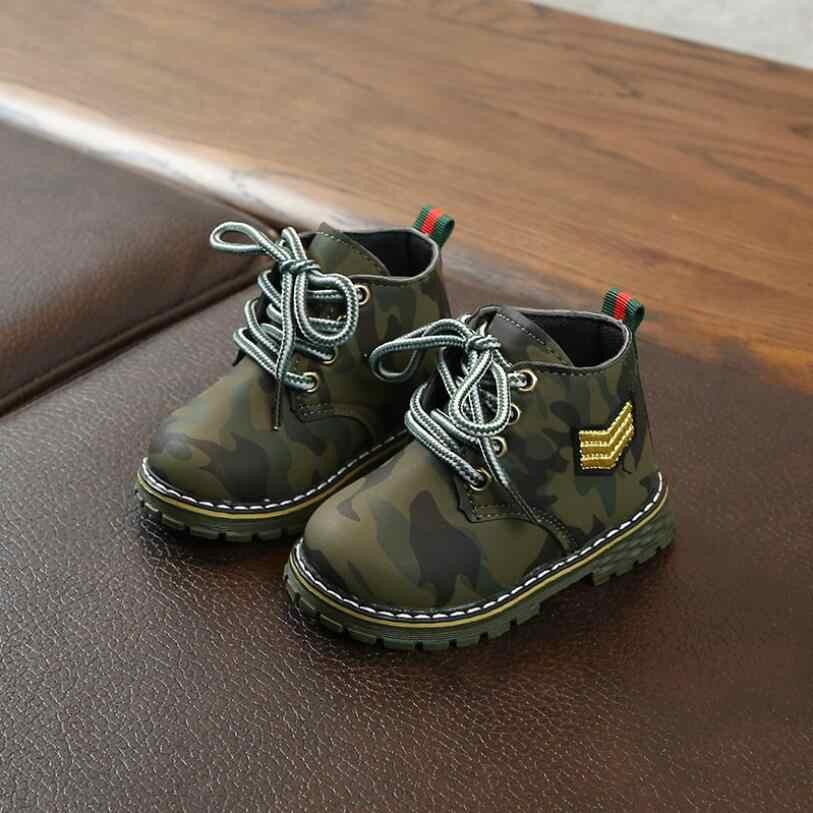 รองเท้าเด็กใหม่รองเท้าฤดูใบไม้ร่วงฤดูใบไม้ร่วงฤดูหนาวเด็กชายลวงตา PU หนังรองเท้าเด็กนักเรียนเด็กวัยหัดเดิน Boot