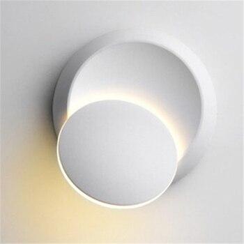1X LED bedside lamp Wall lamp 360 degree rotation adjustable White and Black Black creative modern corridor round lamp wall lamp фото