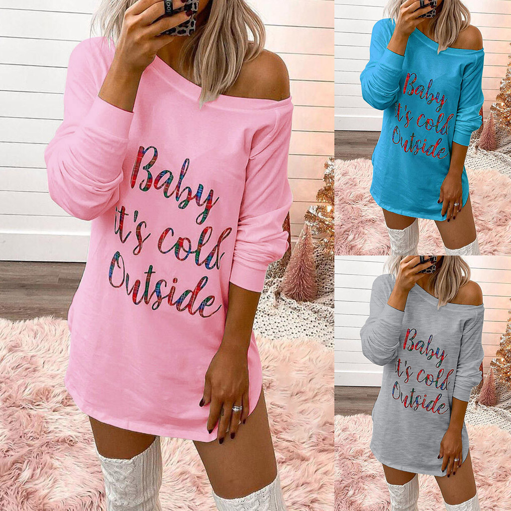 Women Fashion Casual Round Neck Letter Print Long Sleeve Tops And Mini Dress Abiti Donna Robe Ete#sw#sw