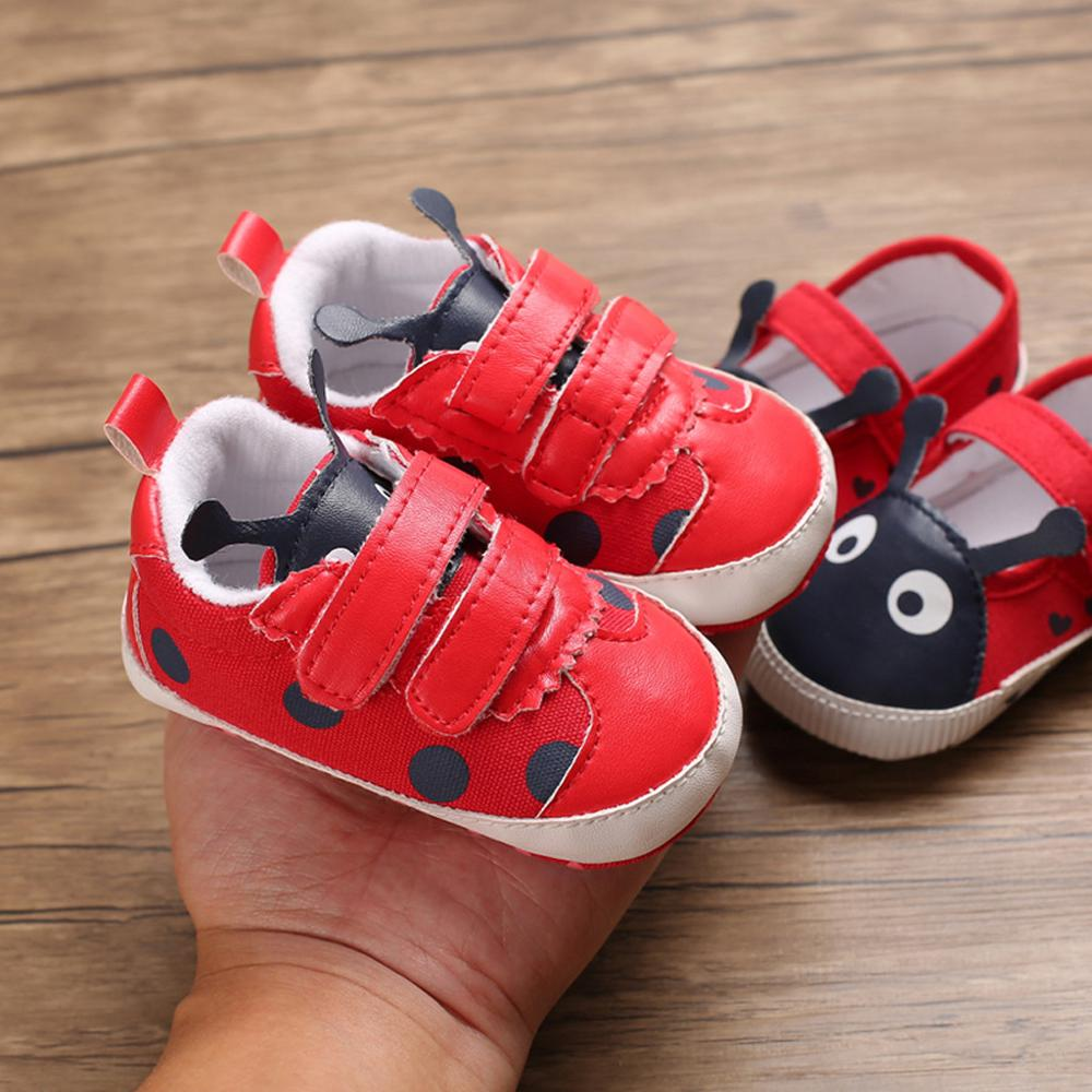 Baby Autumn Winter Shoes Kid Boy Girl Ladybug Lace Cotton Cloth First Walker Anti-slip Soft Sole Toddler Sneaker  @A