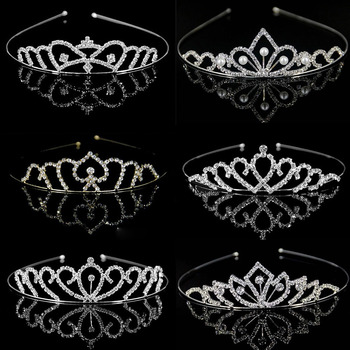 Girls Crystal Tiaras and Crowns Headband Girls Princess Bridal Prom Crown Wedding Party Accessiories Hair Jewelry great gatsby daisy crystals pearl tassels silver wedding bridal pearl tiaras and crowns wedding party hair hoop headbands