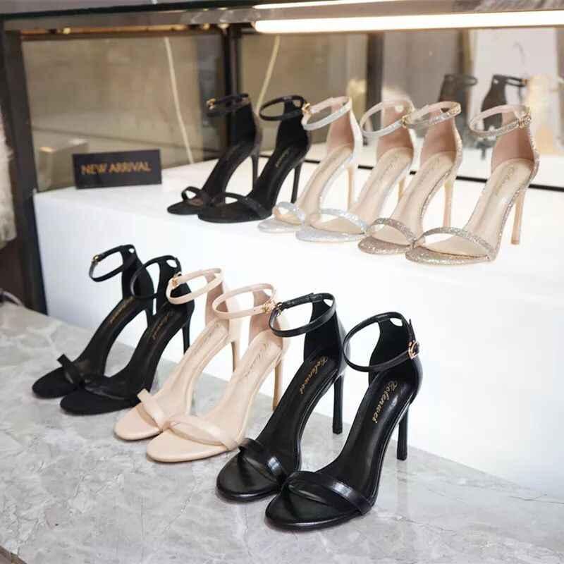 2020 Nieuwe Open Teen Vrouwen Sandalen Koreaanse Mode Prima Met Wilde Toevallige Zwarte Hoge Hakken