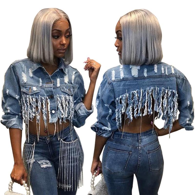 Tsuretobe Tassel Ripped Cropped Jean Jacket Women Autumn Chain Long Sleeve Denim Jacket Streetwear Short Denim Coat Female Outwe