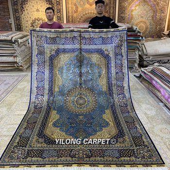 Yilong 6 x 9 kashmir qum alfombra vantage azul seda hecha a mano alfombra tradicional (ZQG367A)
