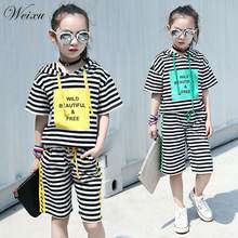 Летний комплект одежды для маленьких девочек топ в полоску с