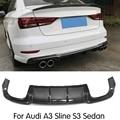 Carbon Faser/FRP Unpainted Hinten Lip Spoiler Diffusor für Audi A3 Sline S3 Limousine 4 tür Nicht A3 Standard 2017 2018 auto Styling