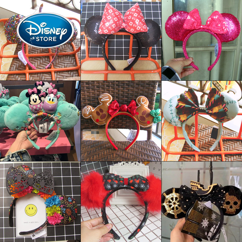 Disney Mickey Mouse Ears Headband Disneyland Hair Hoop Duffy Bear Wedding Style Headdress Party Headwear Girl Toys Birthday Gift