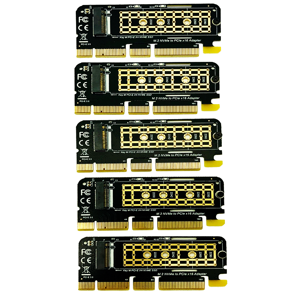5PCS M.2 NVME Adapter M.2 M2 NVME PCIE To M2 Adapter PCI Express X16 X8 X4 Raiser SSD M.2 PCI-E Expansion Card For 2230-2280 SSD