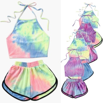 Fashion Outfit Tracksuit Tie-Dye Gradient Halter Crop Top and Shorts Two 2 piece set Women Summer New Fashion Tank Suits костюм crop self tie halter top