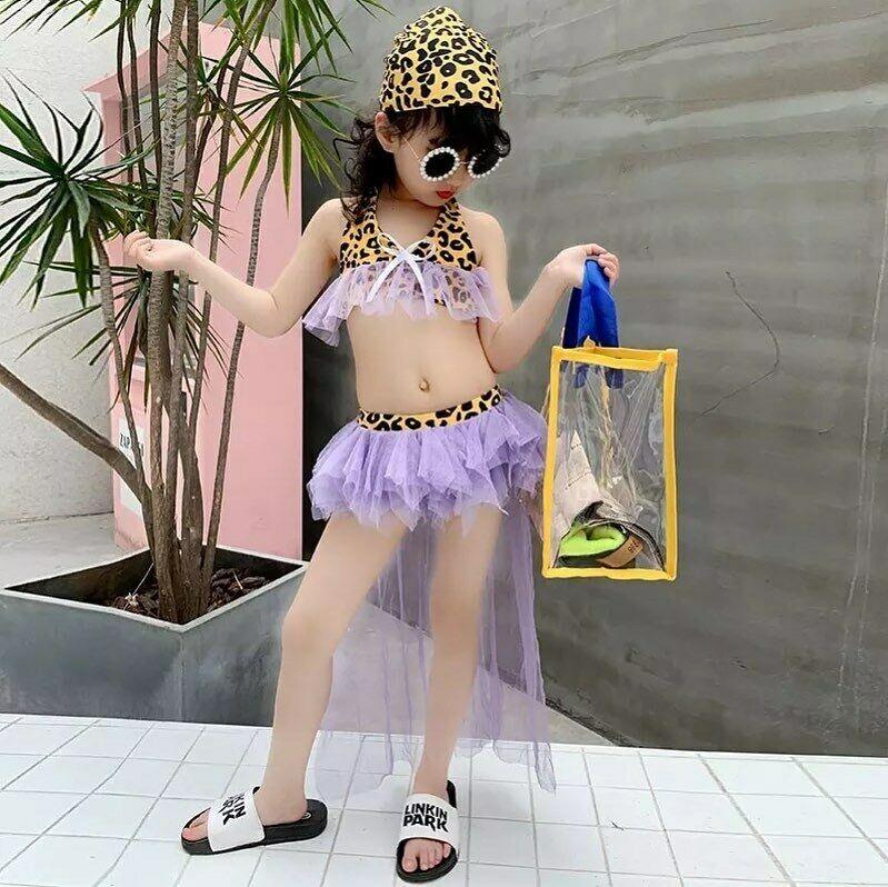 2020 3Pcs Toddler Kids Baby Girls Clothes Kid's Swimwear Leopard Printed Bikini Set Lace Swimsuit Fashion Swimming Outfits Set