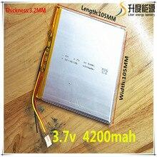 Tablet polymer batterie 4200 mah 3,7 V 32105105 smart home MP3 lautsprecher Li-Ion für dvr, GPS, mp3, handy, sprechen, 29104104
