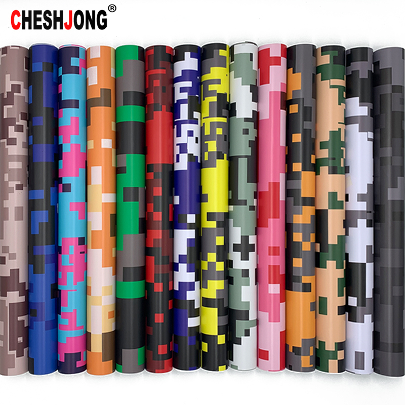 5 Sizes Digital Printed Camo Vinyl Film Wrapping Motorcycle Scooter Car Sticker Wrap Car Styling Foil Pixels Camouflage Film