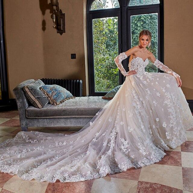 Kristall Appliques Blumen Glänzenden Prinzessin Hochzeit Kleid A Line Mit Abnehmbare Ärmel  China Vestidos De Boda
