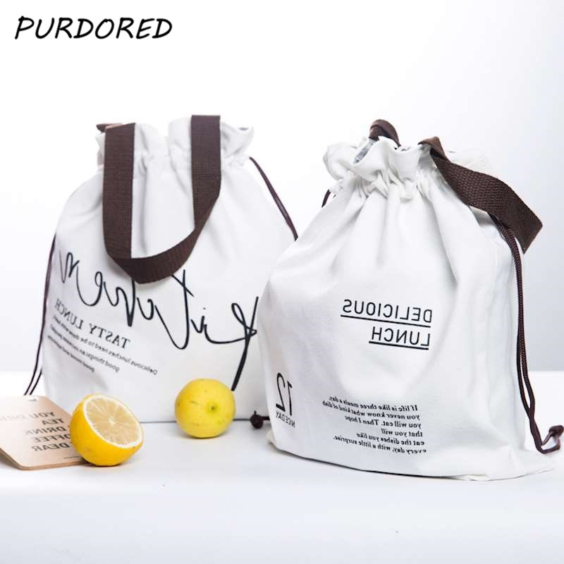 PURDORED 1 Pc White Letters Insulated Lunch Bags Thermal Insulated Lunch Box Bag Food Picnic Bag Cooler Bento Bag For Kid Tote