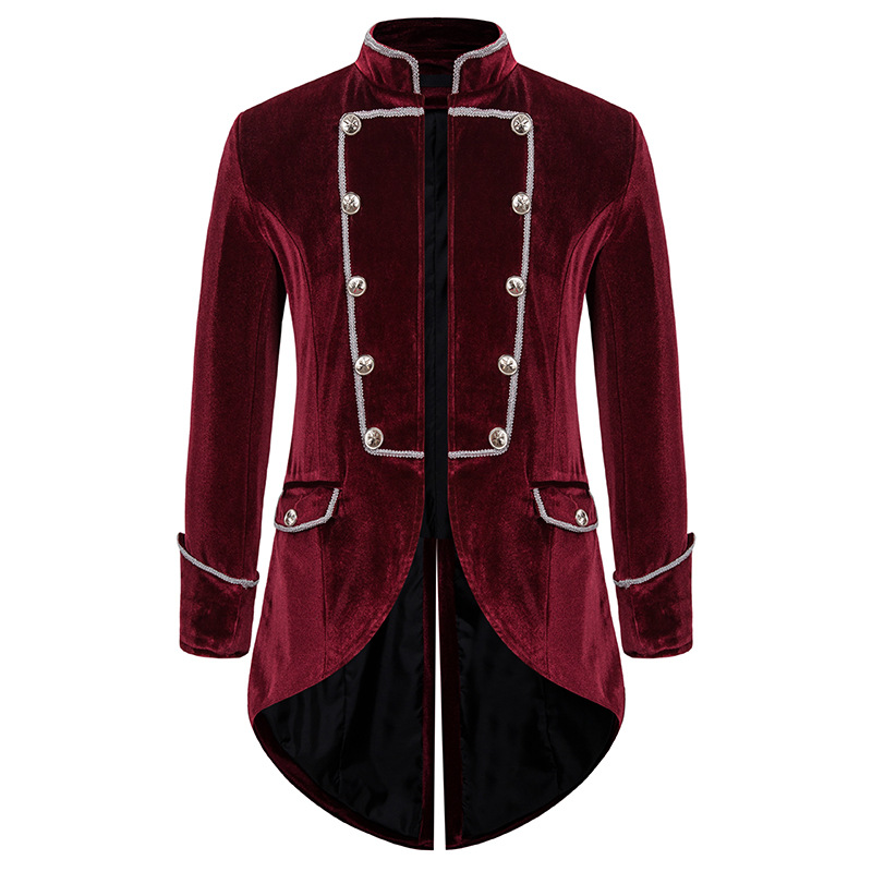 Men's Steampunk Tailcoat Jacket Gothic Victorian Frock Coat Party Cosplay Prom Costume Homme Vintage Wine Red Velvet Blazer Men