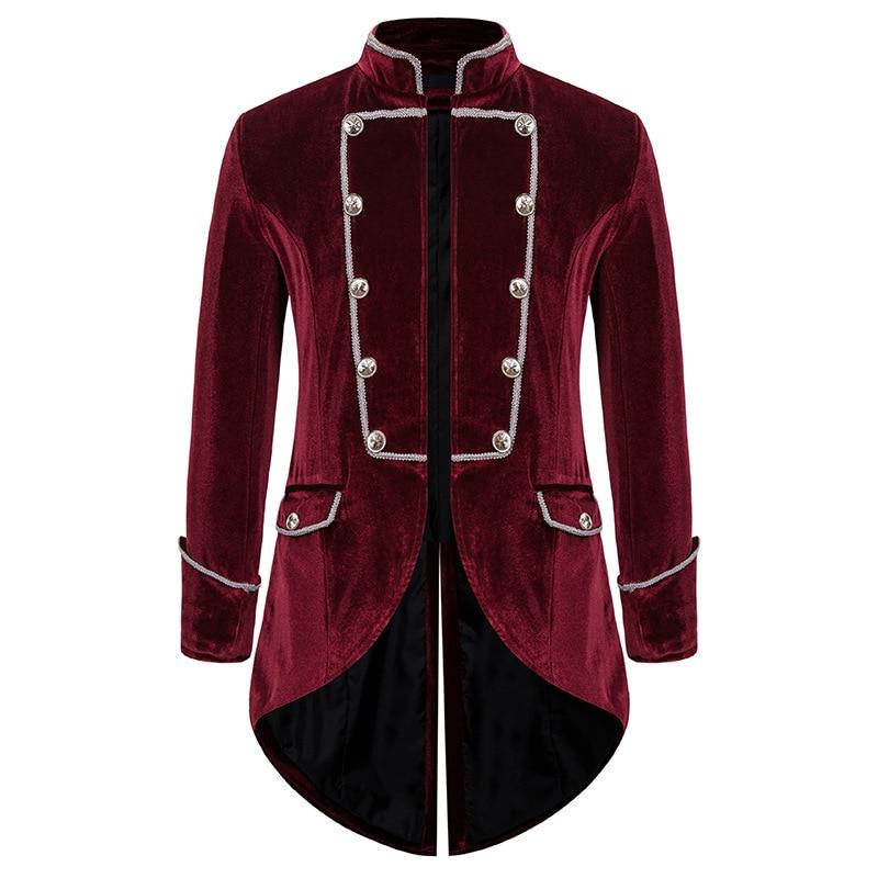Men's Steampunk Tailcoat Jacket Gothic Victorian Frock Coat Party Cosplay Prom Costume Homme Vintage Wine Red Velvet Blazer Men