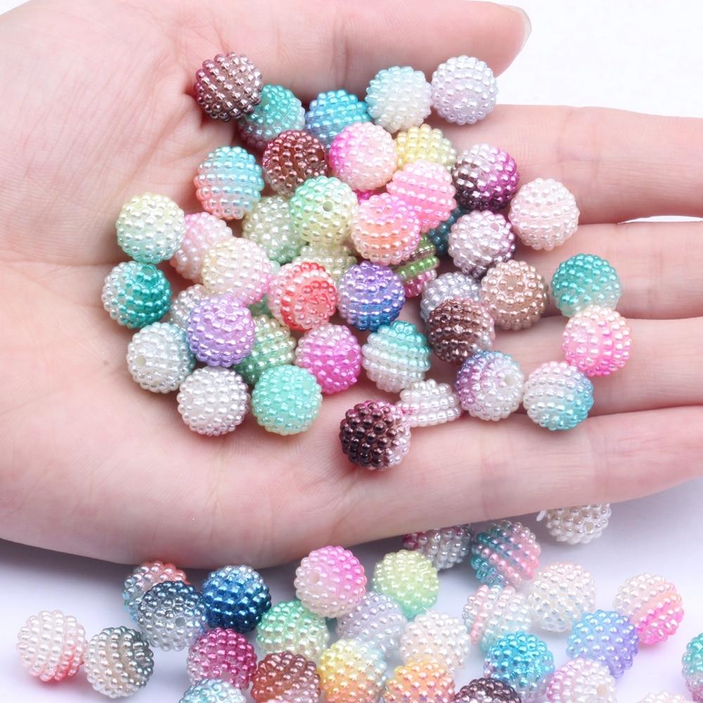 10mm 20 pçs/lote Acrílico multi-colorido bayberry beads imitação pérola Redonda Solta Pérola Colar & Pulseira DIY Jóias Artesanato Fazer
