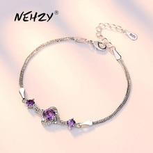 NEHZY 925 sterling silver jewelry bracelet high quality retro fashion woman purple crystal flower bracelet length 19.5CM