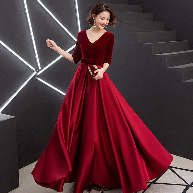 Evening Dress Velvet Top A Line Floor Length Formal Party Gowns 2020 Sexy V-Neck Half Sleeve Elegant Vestidos Women Dresses K246 5