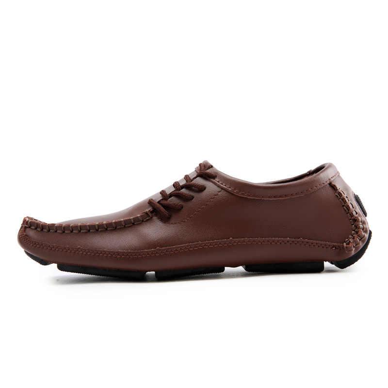 Męskie buty na co dzień luksusowe letnie męskie mokasyny miękkie mokasyny skórzane Homme Slip on Zapatos rozmiar