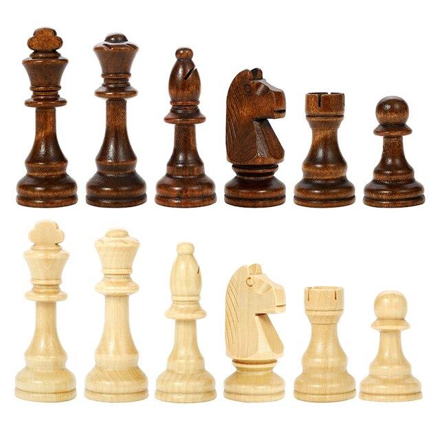 Jeu d'échecs en bois noyer massif, pliable de 78MM - cadeau idéal 4