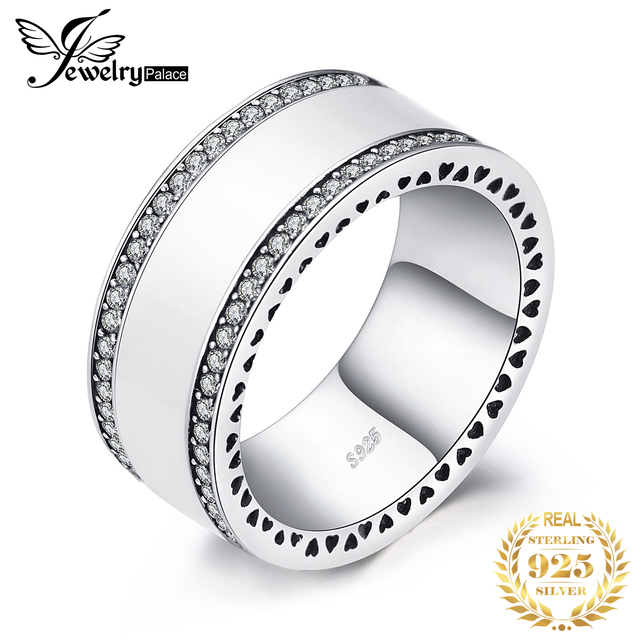 Jewelrypalace 925 Sterling Silver Pearlescent Heart Statement Ring For Women Trendy Jewerly Gifts For Best Friends New Hot Sale