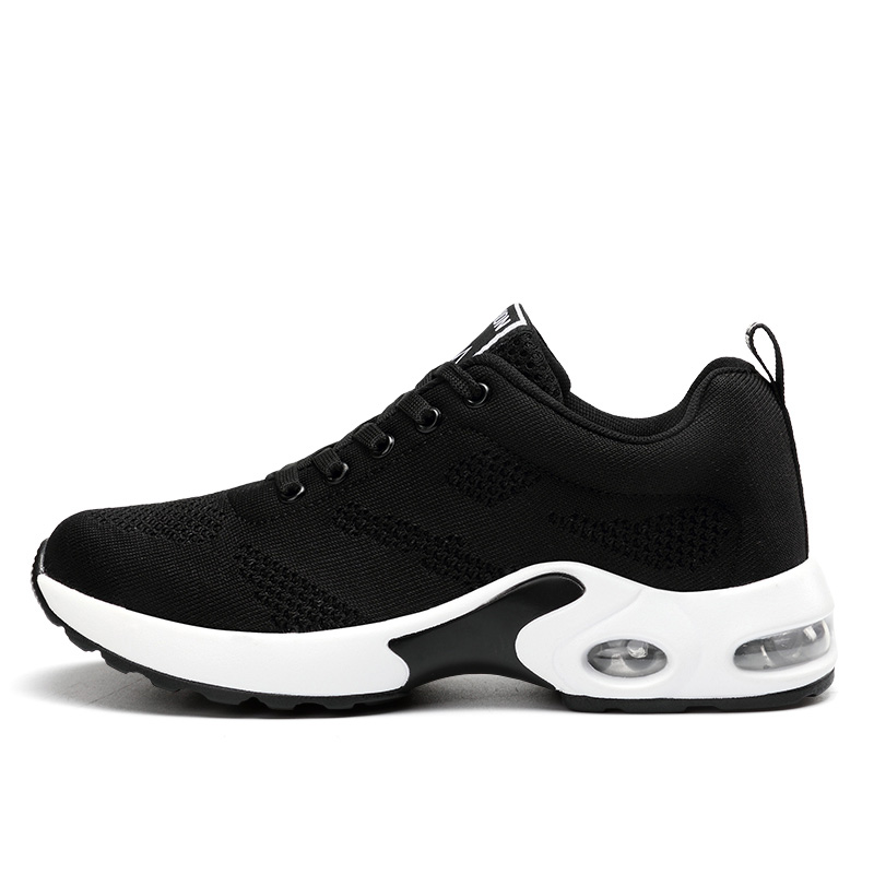 NKAVQI Women Sneakers Breathable Outdoor Casual Shoes Woman Air Cushion Mesh Vulcanized Shoes Female Black Lace-Up Ladies Shoes