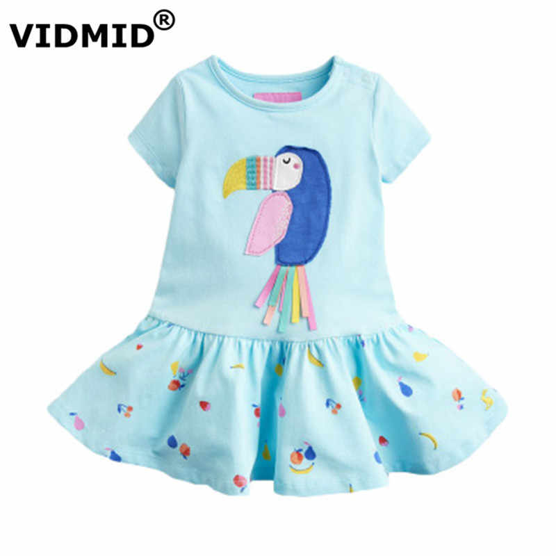 VIDMID baby girls short sleeve dresses cotton clothes summer birds dresses kids girls casual dresses children 2-7Years clothing