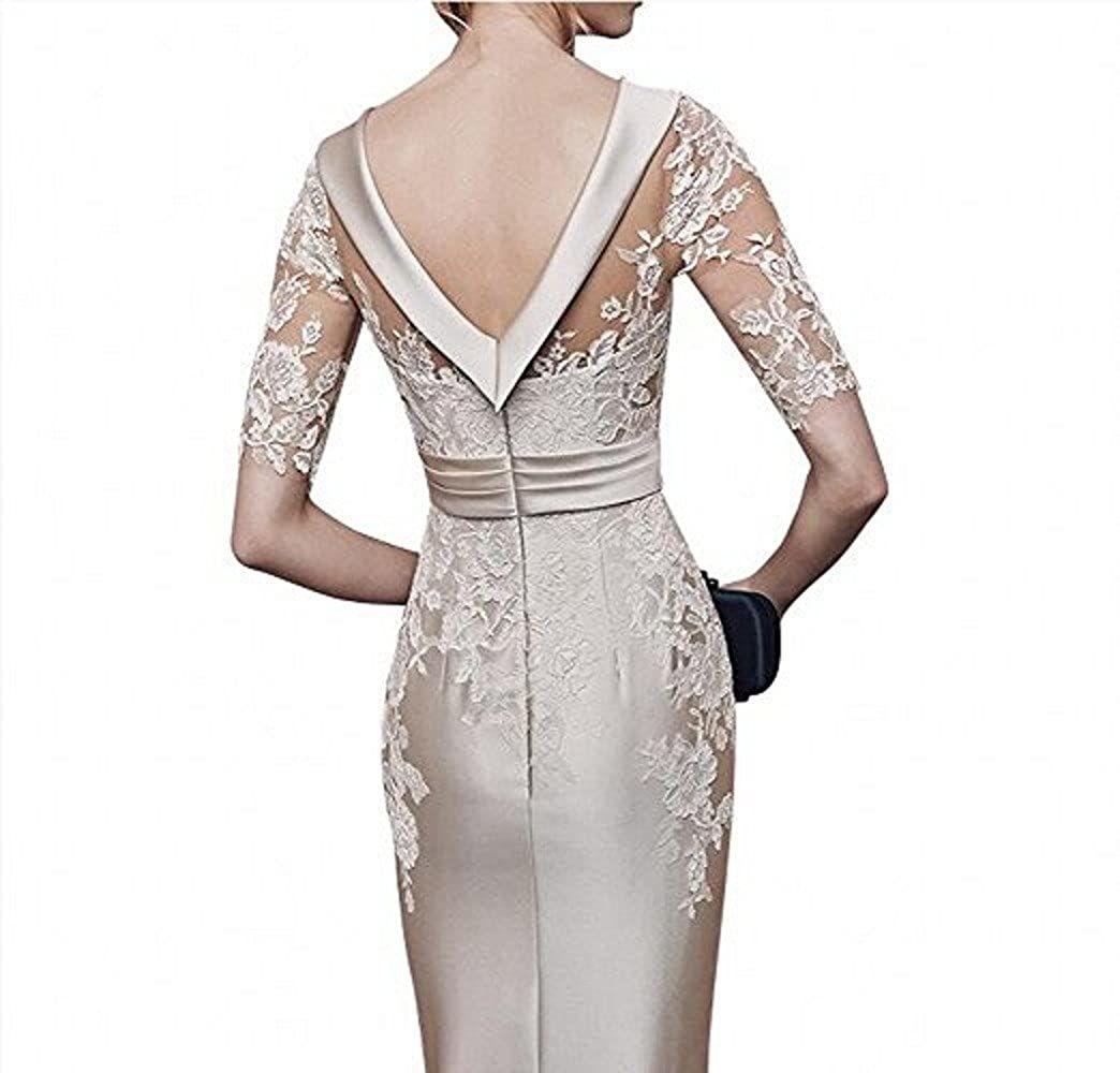 Ladies 2020 New Champagne Satin Evening Dress Party Clothes gown Short Arms Kneeling Festive Clothes Robe De Soiree Vestido