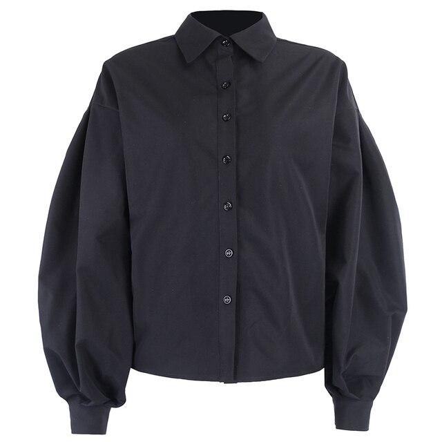 Instahot lantern sleeve elegant shirt white black sexy button vintage blouse turn down collar office ladies shirt female casual