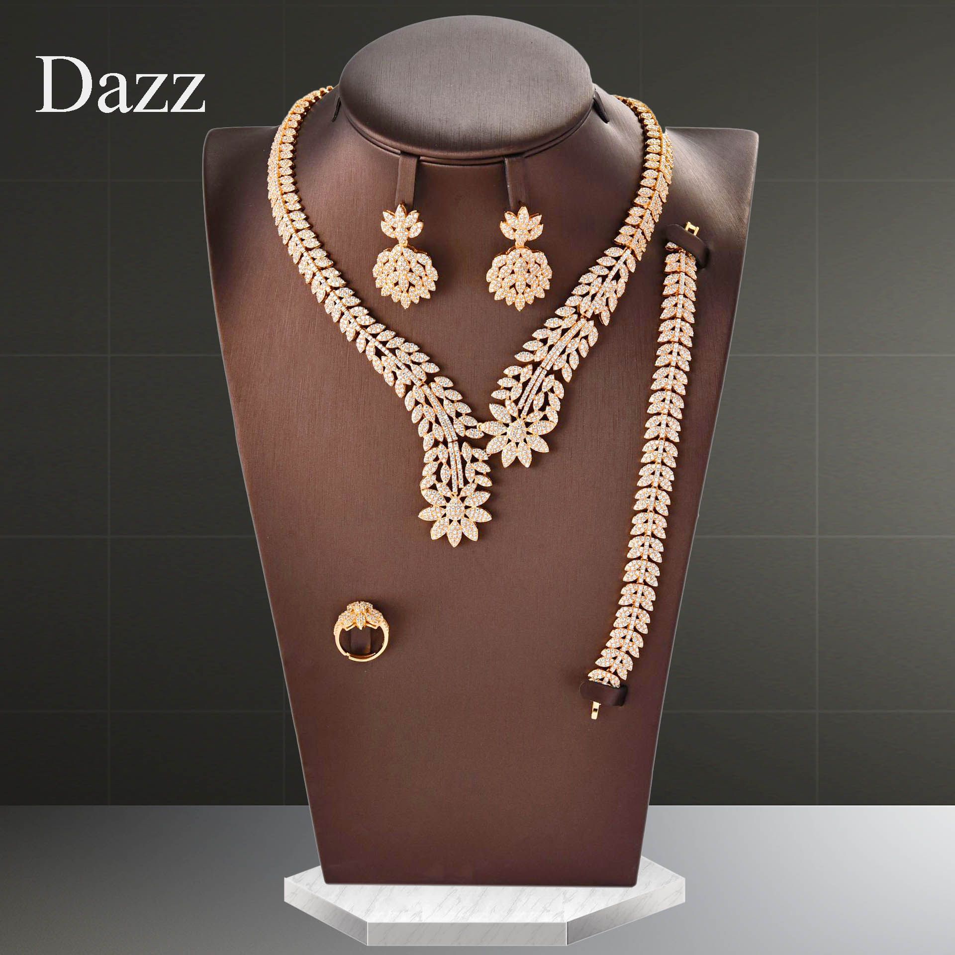 Dazz Gold Luxury Leaf Nigeria Jewelry Set AAAA Zircon Women Wedding Dress Dubai Flowers Bridal Necklace Earring Ring Sets 2020