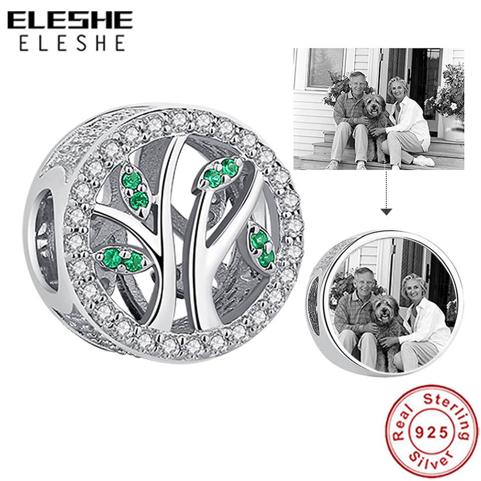 ELESHE Custom Photo Crystal Beads 925 Sterling Silver Family Tree of Life Charm Fit Original Pandora Bracelet DIY Jewelry Gift image