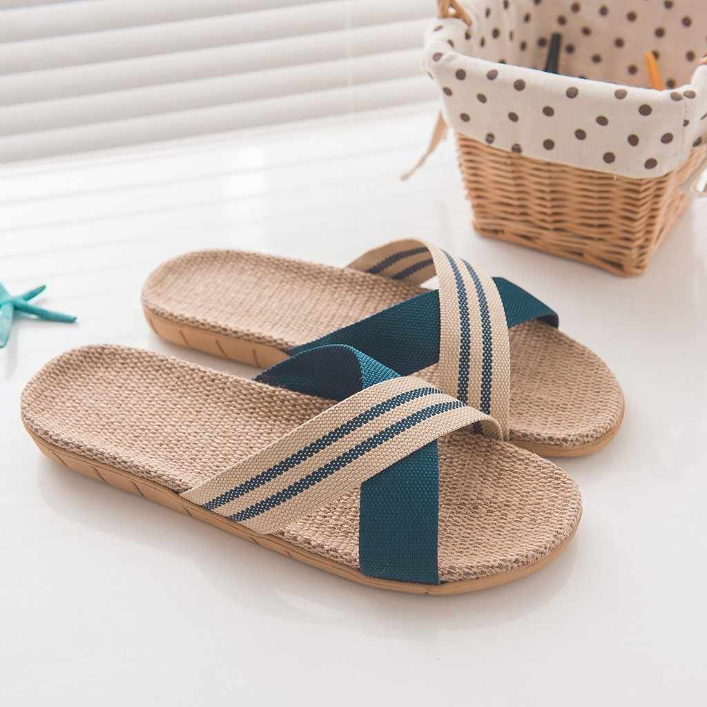 Mannen Mode Slides Fashion Schoenen Dames Slippers Anti-slip Linnen Thuis Indoor Outdoor Open Teen Platte Schoenen Strand slippers #114